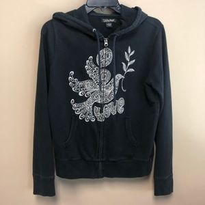 Lucky Brand embroidered dove love hoodie black S